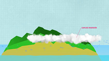 Apreciamos el viento al impactar con un objeto, en este caso una isla