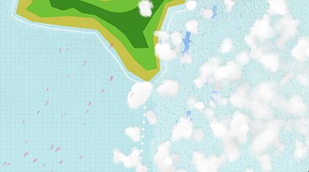 Podemos ver que en la zona de aceleración el mar se pica y se cubre de nubes mientras en la zona a sotavento el viento va en dirección opuesta al meteo